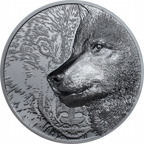 Mystic Wolf 2 oz black proof silver coin reverse