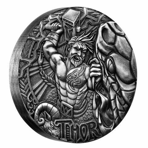 THOR Norse Gods 2oz antiqued 2oz silver coin