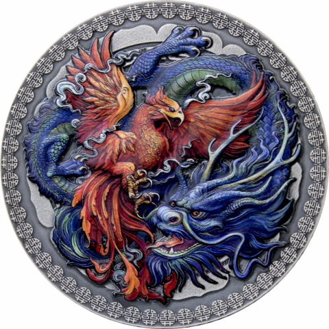 Phoenix and Dragon 50g silver coin reverse