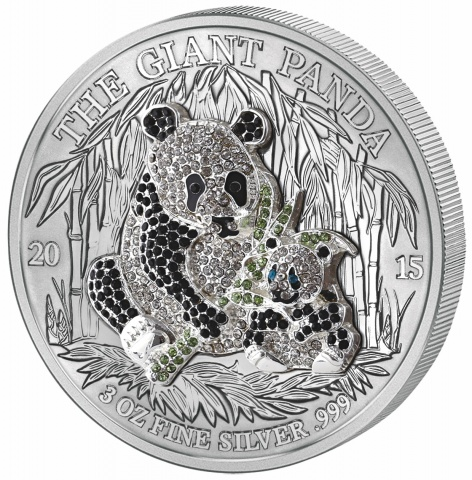PAVE GIANT PANDA 3oz Silver Coin Proof