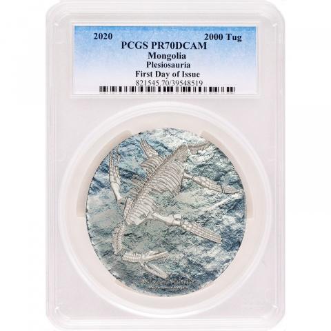 Plesiosauria 3 oz proof silver coin PCGS PR70 reverse