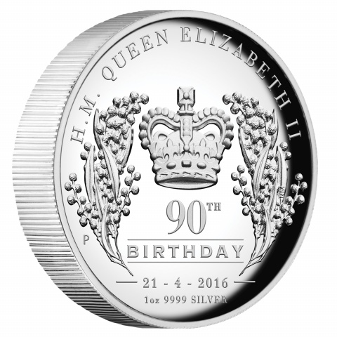H.M. Queen Elizabeth II 90th Birthday 2016 1oz Silver Proof High Relief Coin