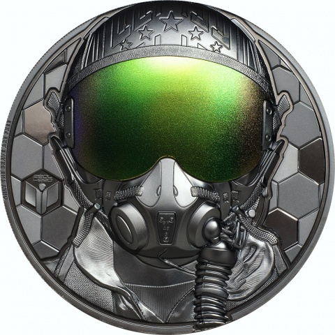 Fighter Pilot 3 oz black proof silver coin reverse