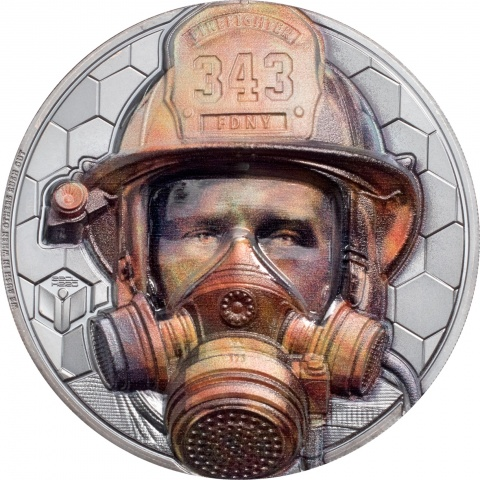 Firefighter Real Heroes 3 oz silver coins reverse