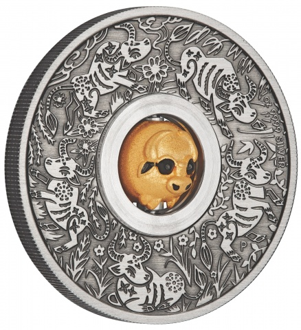 Year of the Ox Rotating Charm 1 oz Silver Coin reverse