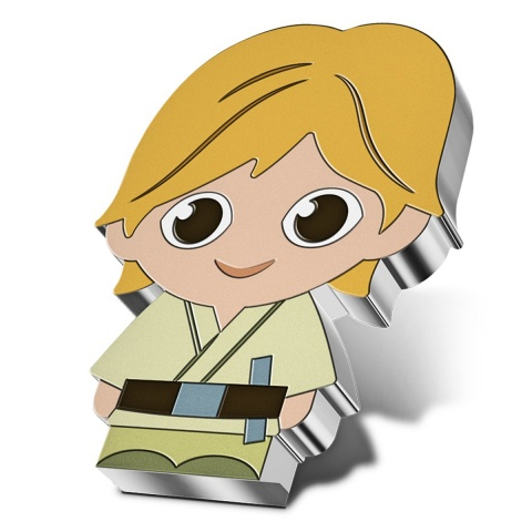 Chibi Luke Skywalker Star Wars 1 oz Silver Coin angled