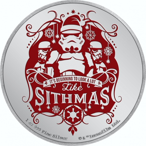 Star Wars Christmas Stormtroopers 1 oz silver coin
