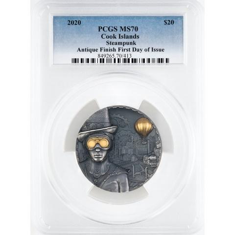 Steampunk 3 oz silver coin MS70 reverse