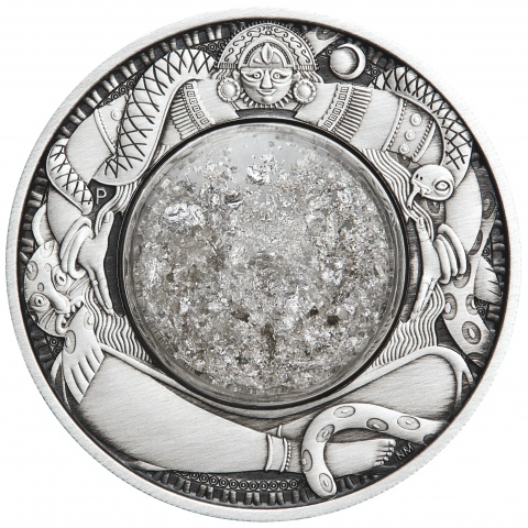 Tears of Moon 2 oz silver coin antiqued reverse