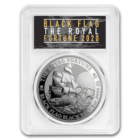 The Royal Fortune Black Flag:Black Bart 1oz Silver Coin