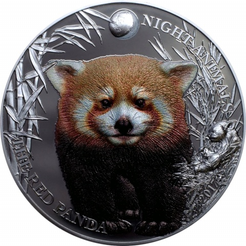 RED PANDA Night Annimals 1oz silver coin 55 mm black proof