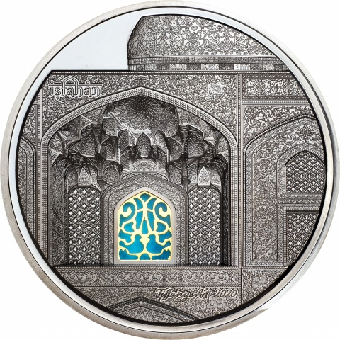 Tiffany Art Isfahan 5 oz black proof silver coin reverse