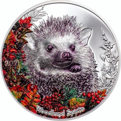 Hedgehog Woodland Spirits 1oz silver coin reverse