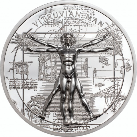 Vitruvian Man X-Ray 1 oz silver coin reverse