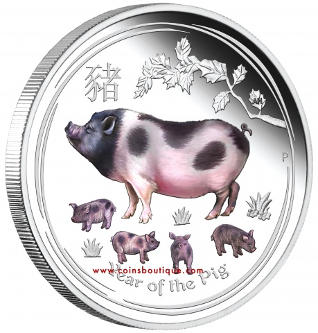 Year of the Pig 1 oz silver coin colorized