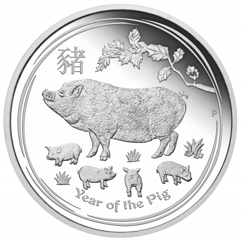 Australian Lunar Series Year of The Pig 1oz silver coin proof