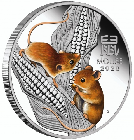Year of the Mouse 1oz Silver Proof Colored Coin
