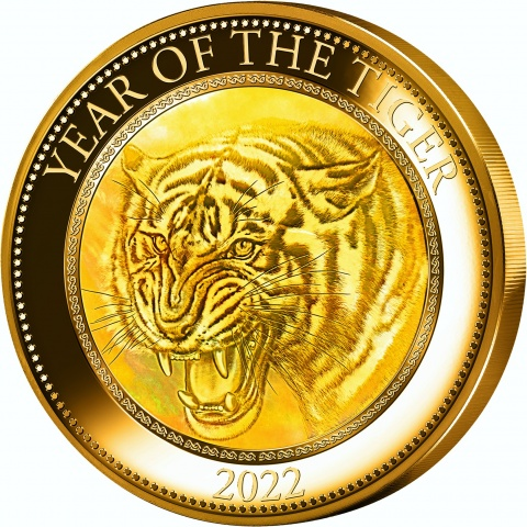 Year of The Tiger 5 oz gold coin reverse