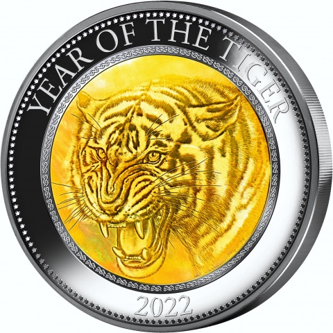 Year of Tiger 5 oz silver coin reverse