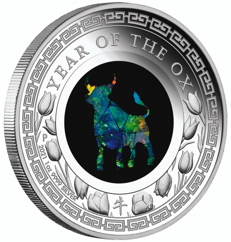 Australian Opal Year of the Ox 1oz Silver Proof Coin reverse