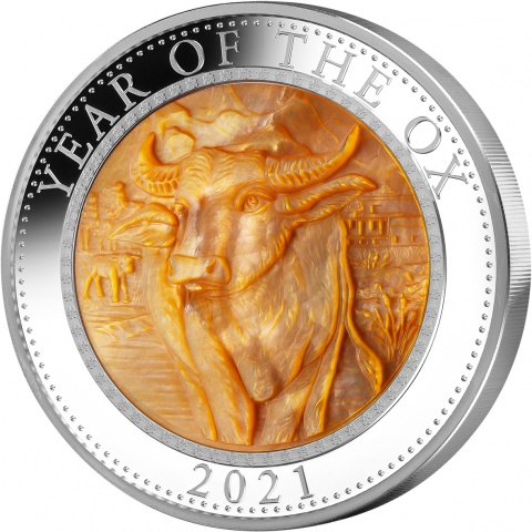 Year of the Ox Mother of Pearl 5 oz silver coin