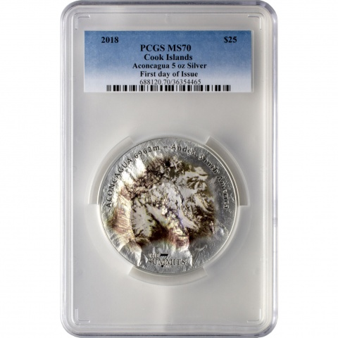 Aconcagua The 7 Summits 5oz Silver Coin Proof PCGS MS70