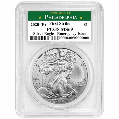 AMERICAN  EAGLE 1oz Silver Coin EMERGENCY ISSUE PCGS MS69  First Strike obverse