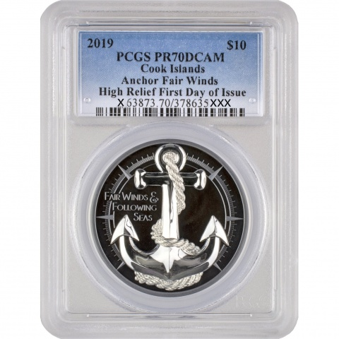 Anchor Fair Winds 2oz Black Proof Silver Coin PCGS PR70DCAM