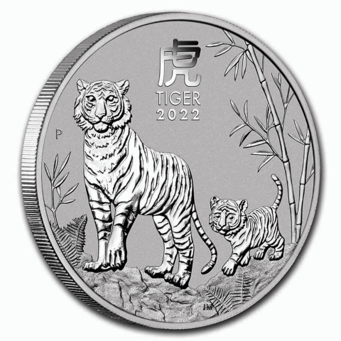 Year of the Tiger 5 oz silver coin BU reverse