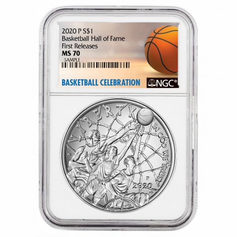 Basketball Hall of Fame silver coin NGC MS70