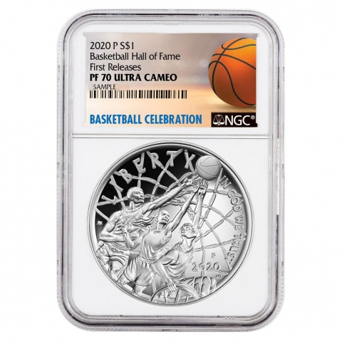 Basketball Hall of Fame proof silver coin NGC PF70