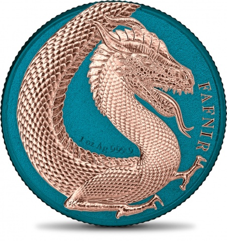 Germania Beasts Fafnir space blue 1 oz silver crown