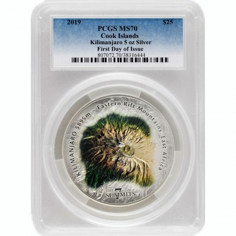 Kilimanjaro The 7 Summits 5oz Silver Coin Proof PCGS MS70