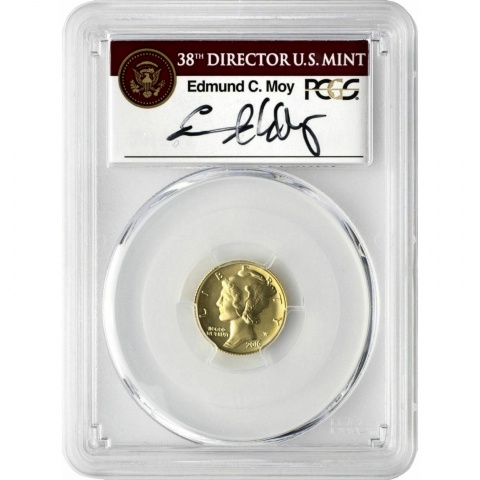 Mercury Dime  Gold Coin 100th Anniversary Edmund Moy signed