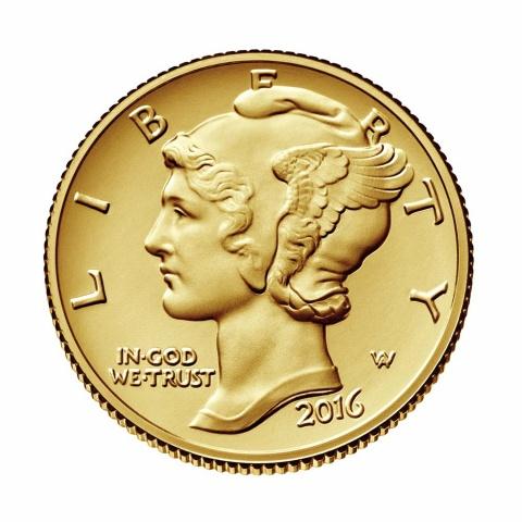 Mercury Dime Centennial 100 Anniversary Gold .9999 Coin