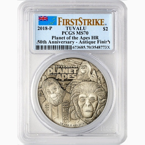 50 Years Planet of the Apes 2oz High Relief  9999 Silver Coin PCGS MS70