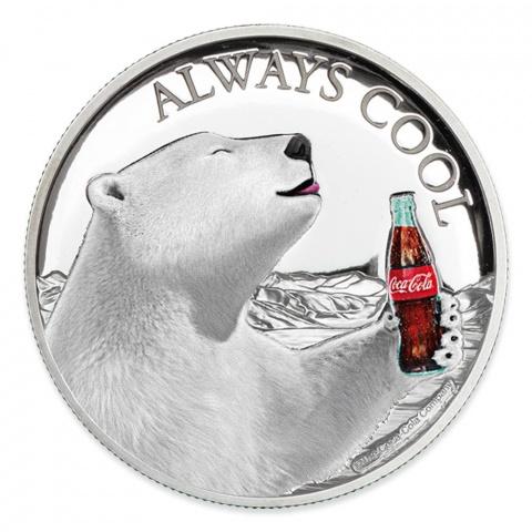 Coca-Cola :Always Cool-Polar Bear 1oz Proof Silver Coin