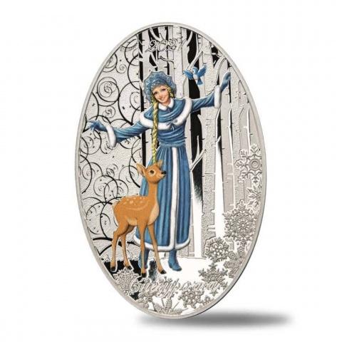 Snow Maiden Matryoshka Doll 1 oz silver coin reverse