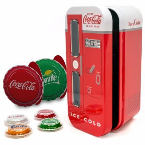 Coca-Cola VENDING MACHINE SET Four Bottle Cap Silver Coins