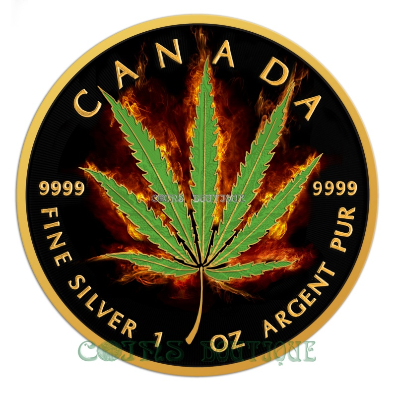 Silve Coins Burning Marijuana Cannabis Sativa Leaf 1oz