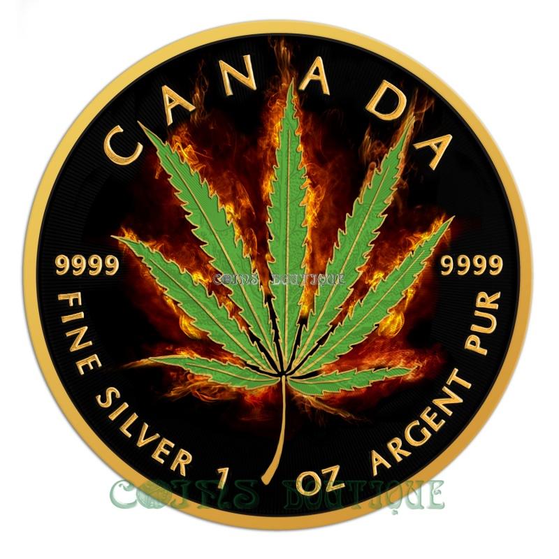 Silve Coins Burning Marijuana Cannabis Sativa Leaf 1oz