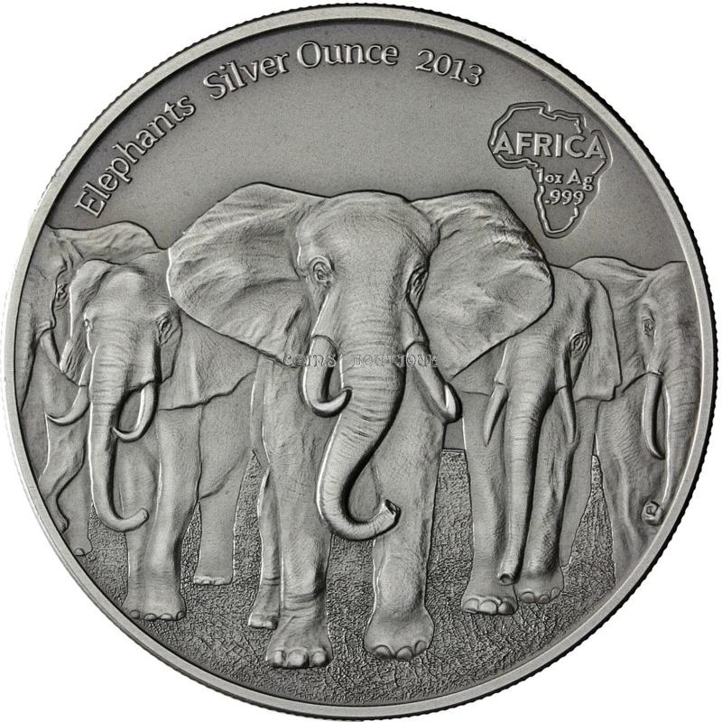 Silver Coins Elephants Africa Silver Ounce Ghana 2013